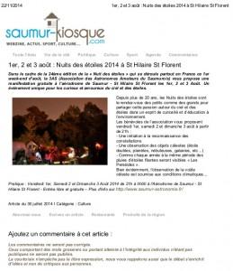 1er, 2 et 3 août _ Nuits des étoiles 2014 à St Hilaire St Florent